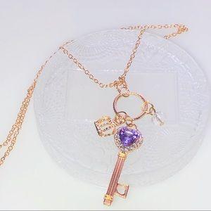 Key Charm Pendant Gold Necklace